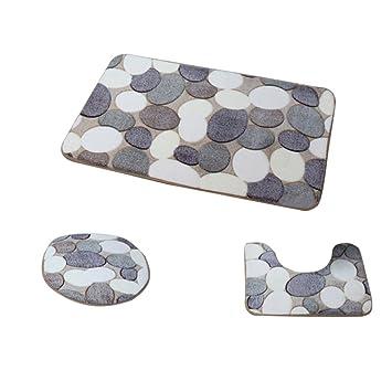 Fenteer Badematte Set 3 Teilig Polyesterfaser Badezimmerteppich