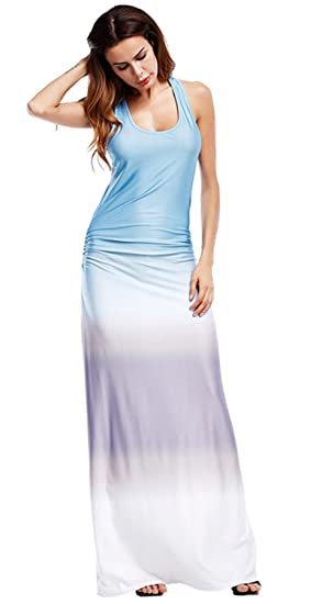 e19ff84011b Sleeveless Racerback Tie Dye Gradient Color Shirred Ruched Side Long Maxi  Bodycon A-Line Tank