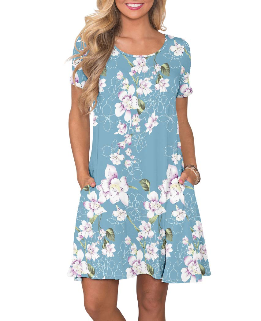 KORSIS Women's Summer Floral Dresses Short Sleeve Tunic T Shirt Swing Dresses Flower Light Blue XL