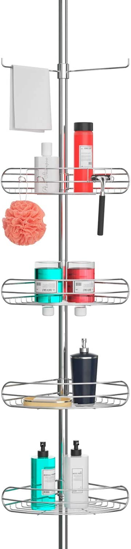 ALLZONE Tension Shower Standing Caddy Corner, Rustproof 304 Stainless Steel, 4 Tier Baskets, 1 Towel Bar, 56-114 Inches