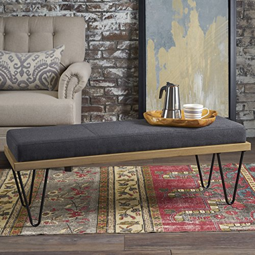 Cheap Elaina Bench | Perfect for Dining Table or Entry Way | Danish, Minimal, Mid Century Modern Design | Hairpin Leg | Fabric in Charcoal