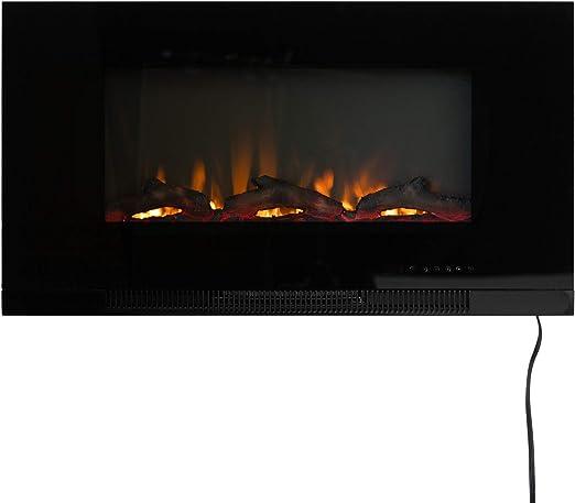 Amazon Com Fire Sense 36 Wall Mount Electric Fireplace Black