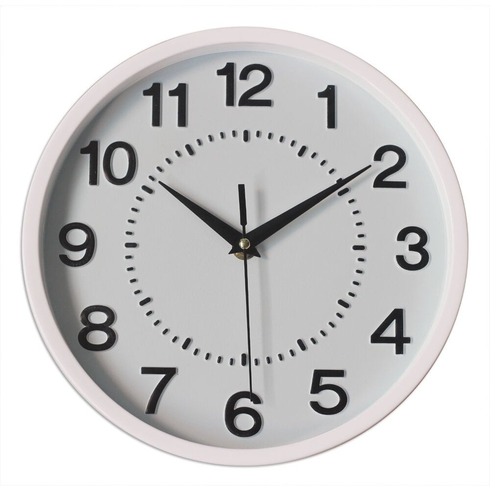 Graceful Silent Wall Clock, 10'' White Non-ticking 3D Numbers Dial Decor Wall Clock with Battery Operated and Round Easy to Read for Home/School/Hotel