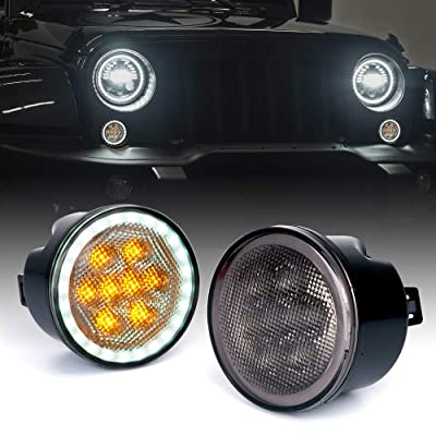 Xprite LED Amber Turn Signal Light with Smoke Lens and Halo DRL for 2007-2020 Jeep Wrangler JK JKU: Automotive