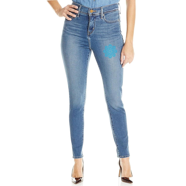 Womens A Buddha Mandala Blossom Mid Waist Stretch Skinny Jeans