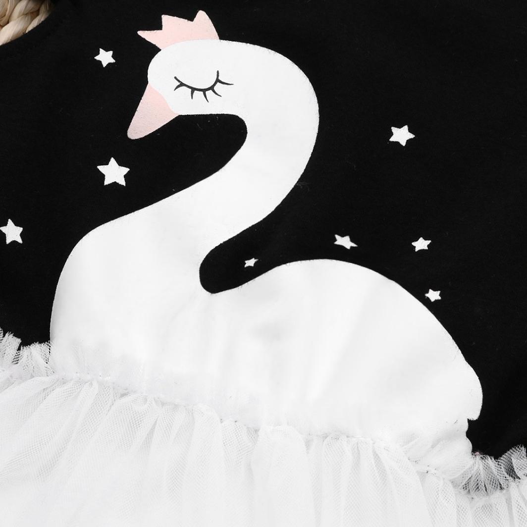 Amanod 2018 Newborn Baby Toldder Girls Star Swan Print Net Yarn Princess Tutu Dress Clothes