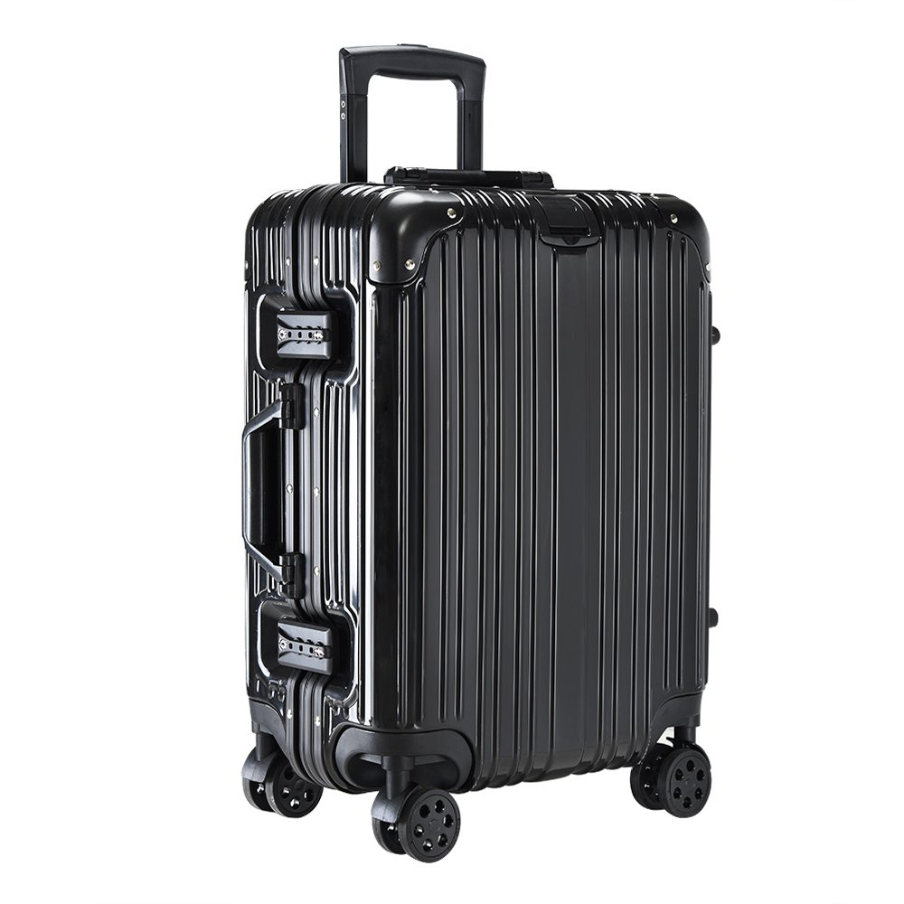 Pananaスーツケース キャリーケース 機内持ち込み 小型大型アルミフレーム TSAロック搭載 ベルトフック付き 鏡面仕上げ 人気旅行軽量 B071PBRKM7 Medium|ブラック ブラック Medium