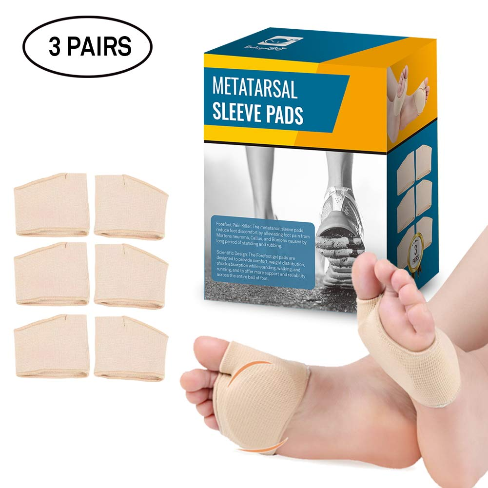 Ball of Foot Cushions 3 Pairs Foot Pads (6 Pieces) | Premium Metatarsal Sleeve Pads Toe Support Sleeve | Forefoot Gel Pads for Mortons Neuroma, Callus, and Bunions by BelugaCare by BelugaCare