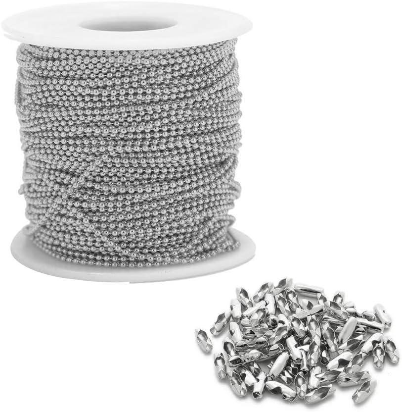 Cadena de bolas de acero inoxidable de 32 pies con 50 conectores a juego cadena de cuentas de 2,4 mm de diámetro con cadena de abanico de plata para alargar la cadena accesorios para hacer joyas
