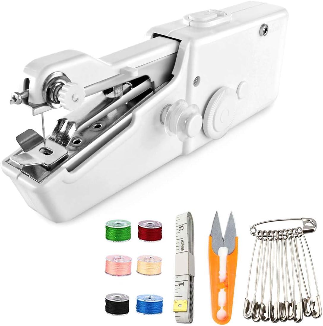 Rexiaoo máquina de coser de mano, mini máquina de coser portátil inalámbrica para principiantes máquina de coser rápida y práctica puntada para ropa, vaquilla, cortinas, cuero y bricolaje