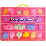 PlayFoam Compatible Organizer - My Foam Bin Is The Perfect PlayFoam Compatible Storage Box- Stores Up to a Combo 20 pack of Playfoam - Large Sturdy Case And Carrying Handle (Pink