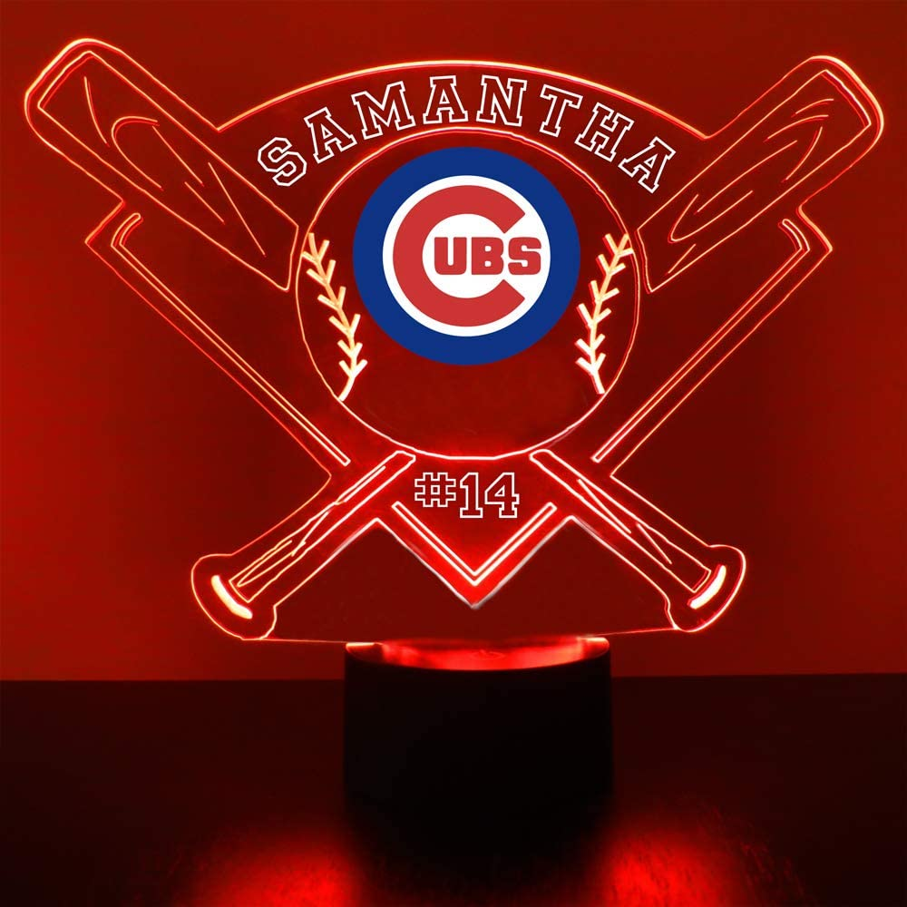 Cubs Baseball Sports Fan Lamp/Night Light - LED - Personalize for Free - Featuring Licensed Decal