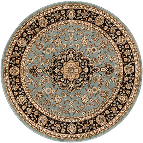 Noble Medallion Light Blue Persian Floral Oriental Formal Traditional 5 Round (5'3