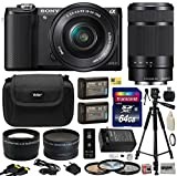 Sony Alpha A5000 20.1 MP Interchangeable Lens Camera with 16-50mm OSS Lens (Black) ILCE5000L & Sony E 55-210mm F4.5-6.3 OSS Lens for Sony E-Mount Cameras with Professional Accessories Bundle Kit includes 64GB Class 10 SDHC Memory Card + x2 Replacement (12