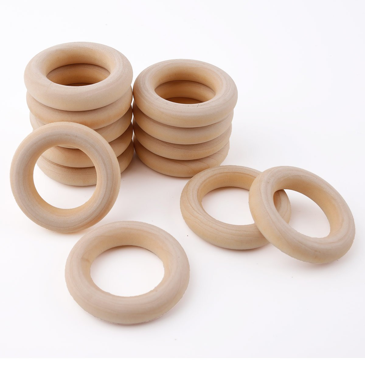 Teething Rings for Babies 5.5cm 20pcs Maple Original Wood Teether DIY jewelry Toys Infant Rattle HAO JIE XC-SWR007 2.1in 0.35in thick