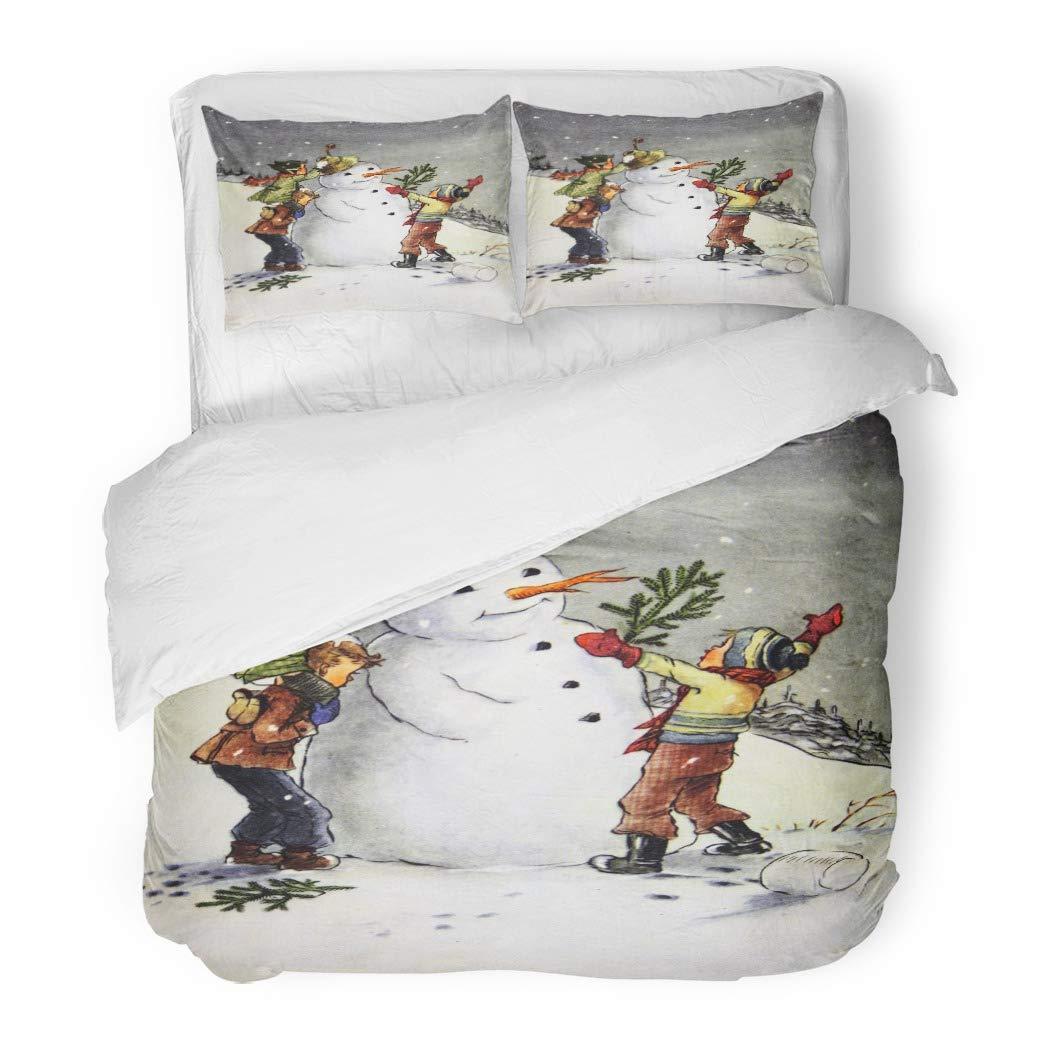 Emvency Bedding 掛け布団カバーセット クリスマス USSR Circa 1955 アンティークショーの複製画 子供の形 雪だるま ヴィンテージ 3ピースセット 枕カバー2枚 キング 104インチx90インチ ファスナー開閉式 B07K9K28TZ