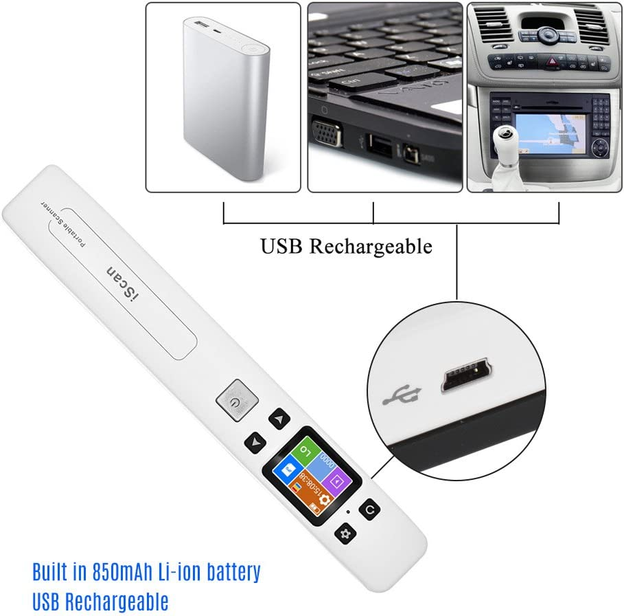 Esc/áner inal/ámbrico port/átil A4 formato 900DPI, JPG//PDF, pantalla LCD, con funda protectora y tarjeta TF de 8 GB para documentos de empresa Aibecy color verde