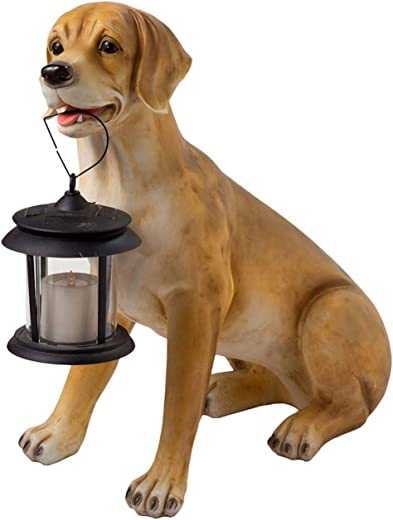 Wind Weather Dog Solar Statue Yellow Lab