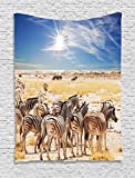 Ambesonne Wildlife Decor Tapestry, Zebras in Savannah Desert Waterhole on Hot Day Africa Safari Adventure Land Print, Wall Hanging for Bedroom Living Room Dorm, 40 W x 60 L inches, Multi