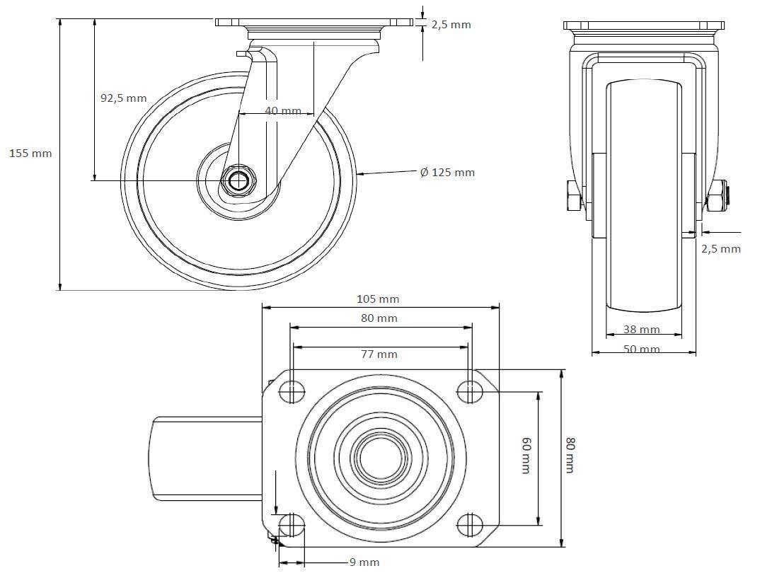 Lenkrolle 125 mm Vollgummi schwarz