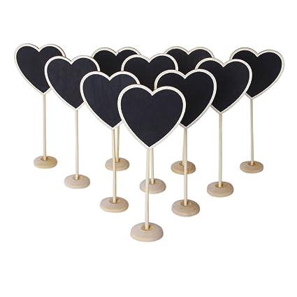 Sonline 10 piezas Pizarras En Forma De Corazon De Color Negro Con Un Base