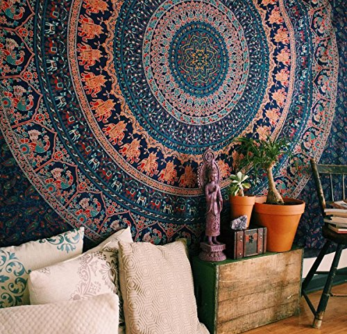 Bohemian Mandala Tapestry - Colorful Coral Hippie Elephant Tapestries Boho Dorm Decor Psychedelic Wall Hanging Home Decorative Twin Size Bedding - Navy Blue - 84 x 54 in (Coral And Navy Decor)