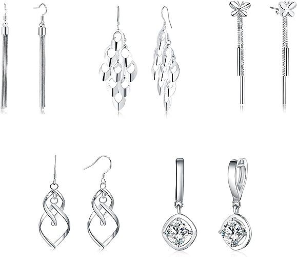 925 cerceau Rose Boucles d/'oreilles argent or paire//Set de bijoux femmes cadeau