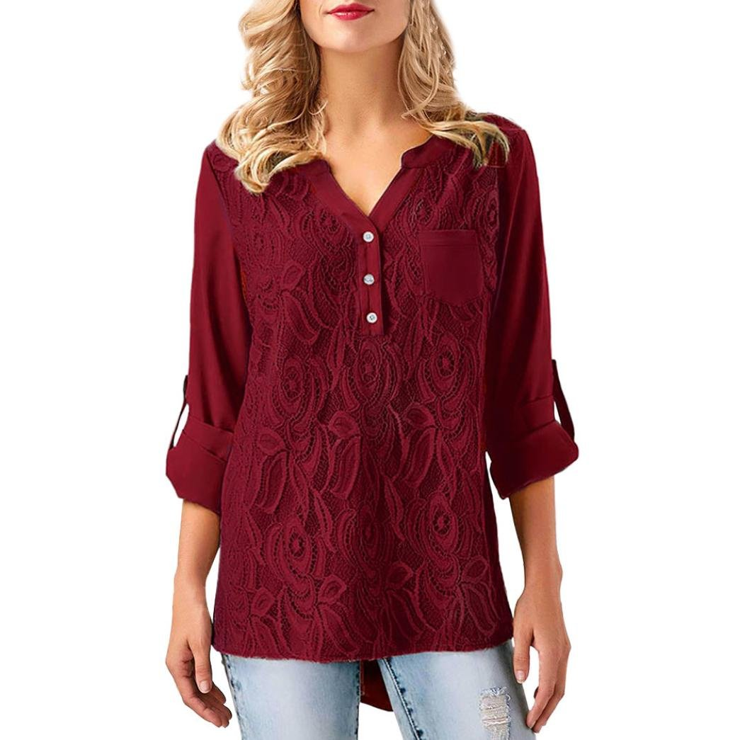 Nuoinet Clearance Women Floral Lace Appliques Blouse Roll-up Long Sleeve Pocket Button Henley Shirts Tunic Tops