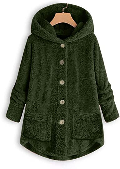 Women Button Plush Coat Tops Hooded Loose Cardigan Wool Coat Winter Jacket