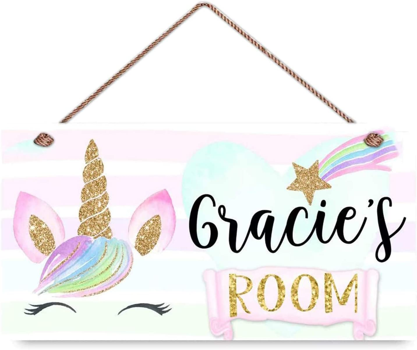 Jinrun Personalise Unicorn Bedroom Decor for Girls, Rainbow Unicorn Room Decor Signs, Door Wall Decor Art Wooden Signs