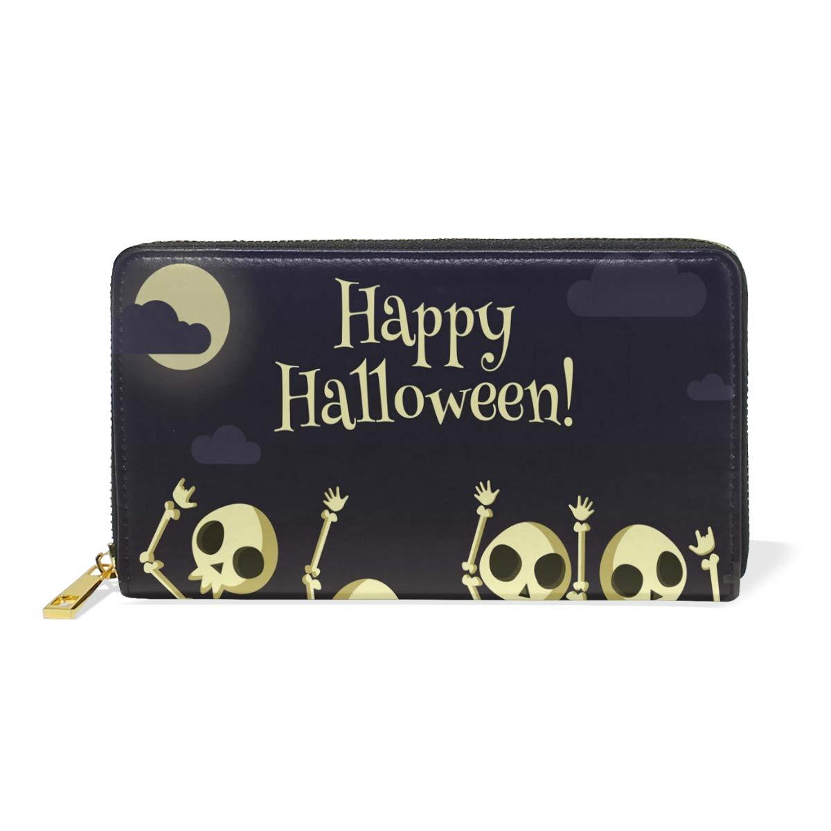 Show color 1 Women Genuine Leather Wallet Halloween Zipper Purse Girl Phone Clutch