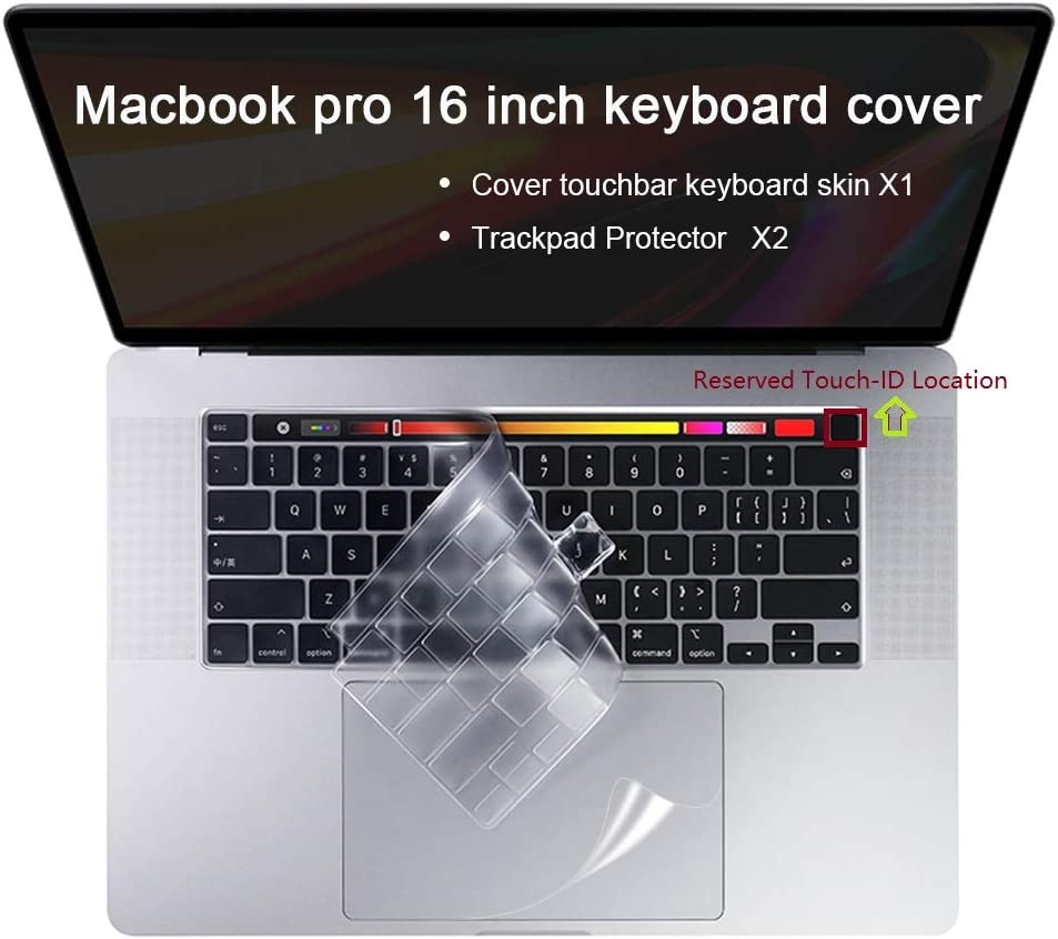 Lapogy Ultra Thin Keyboard Cover New MacBook pro 13 inch Release 2020 A2289/A2251&MacBook Pro 16 inch 2019 Release A2141,Soft TPU Skin Protector with Touch Bar&Touch ID Keyboard Cover,Clear