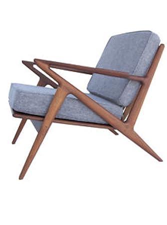 Modern Mid-Century Danish Z Chair Accent Chair, Grey Fabric, Wood Legs w