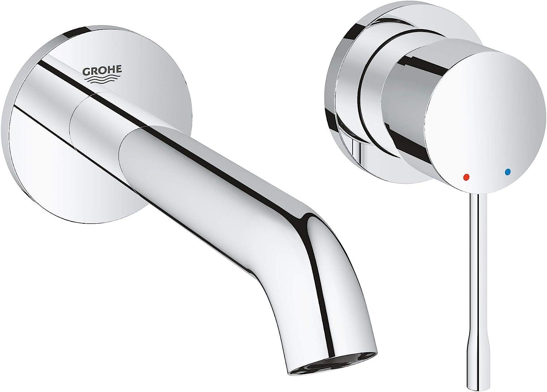Grohe Essence - Grifo de lavabo de doble agujero con sistema de montaje en pared, kit para montaje final, cuerpo empotrado no incluido, tecnología Grohe EcoJoy, aireador Grohe AquaGuide (19408001)