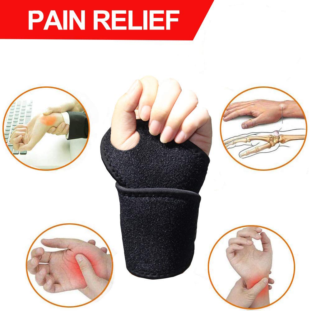 Carpal Tunnel Wrist Brace, Adjustable Wrist Support Brace for Arthritis and Tendinitis, Wrist Compression Wrap for Pain Relief, Suitable for Both Right and Left Hands