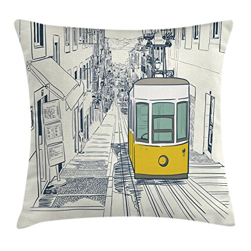 Urban Decor Throw Pillow Cushion Cover by Ambesonne, Sketch Style City Scenery with Street Bus in Town Lisbon Modern Artwork, Decorative Square Accent Pillow Case, 18 X18 Inches, Coconut - Coconut Town