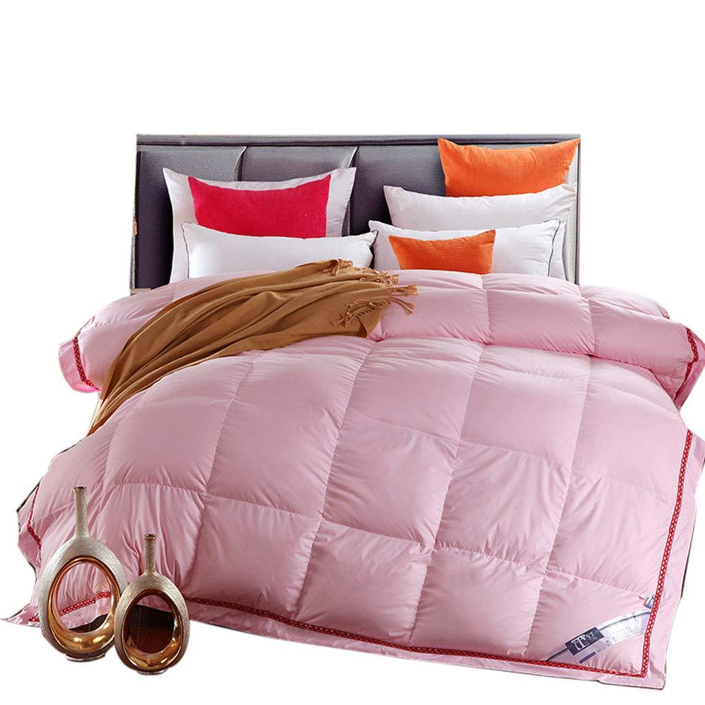 Mesurn JP 綿のアンチフェザーダウン羽毛布団、ガチョウふわふわと快適な、あなたの睡眠のためのケア、ソリッドカラーホームキルト B07KTYFNKM pink 200*220 (4KG)