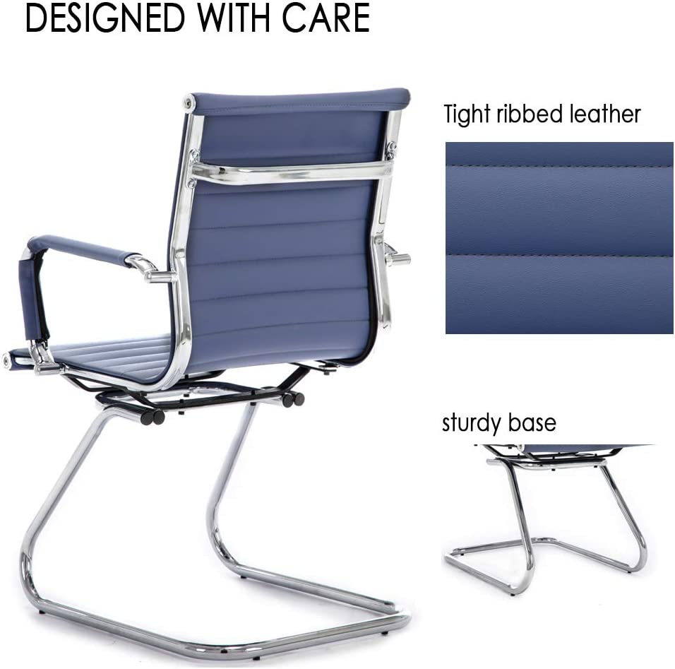 Navy Blue Set of 2 Wahson Heavy Duty Leather Office Guest Chair Mid Back Sled Reception Conference Room Chairs