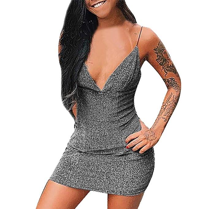 ❤ Vestido Mujer,RETUROM 2019 Mujeres sólido Camisola Liguero Sexy sin Tirantes Mini Vestidos de Abrigo: Amazon.es: Ropa y accesorios
