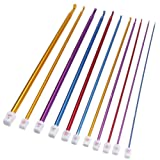 "11pcs 10.6"" Multicolour Aluminum TUNISIAN AFGHAN Crochet Hook Knit Needles Set 2-8mm"