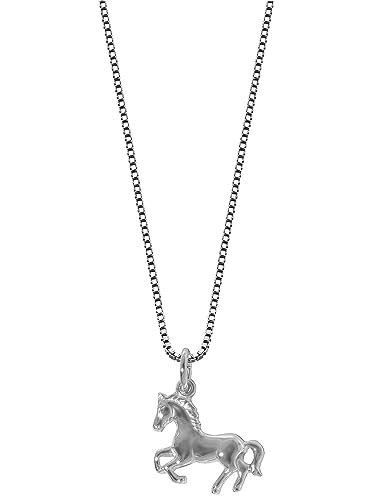 Schmuck für kinder  trendor Kinder-Halskette mit Pferde-Anhänger Silber 63690: Amazon ...