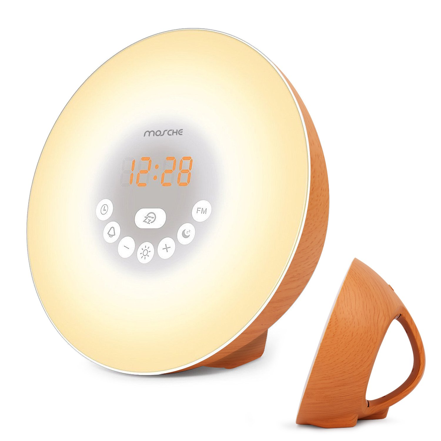 Wake-Up Light Alarm Clock, MOSCHE 2018 Sunrise Alarm Clock for Heavy Sleepers Digital LED Clock Soft 6 Color Lights Switch Simple Operation Brightness Dimmer, Sleeping Mode & Snooze Function 6 Nature