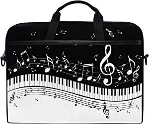 KUWT Laptop Case Music Note Piano Keyboard Laptop Shoulder Messenger Bag Case Sleeve Crossbody Briefcase with Strap Handle for Notebook Computer