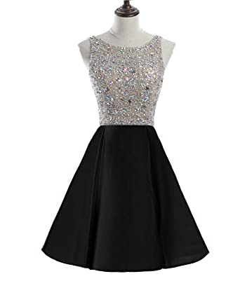 HEIMO Womens Beading Homecoming Dresses Sequined Backless Cocktail Prom Gowns Short H323 0 Black