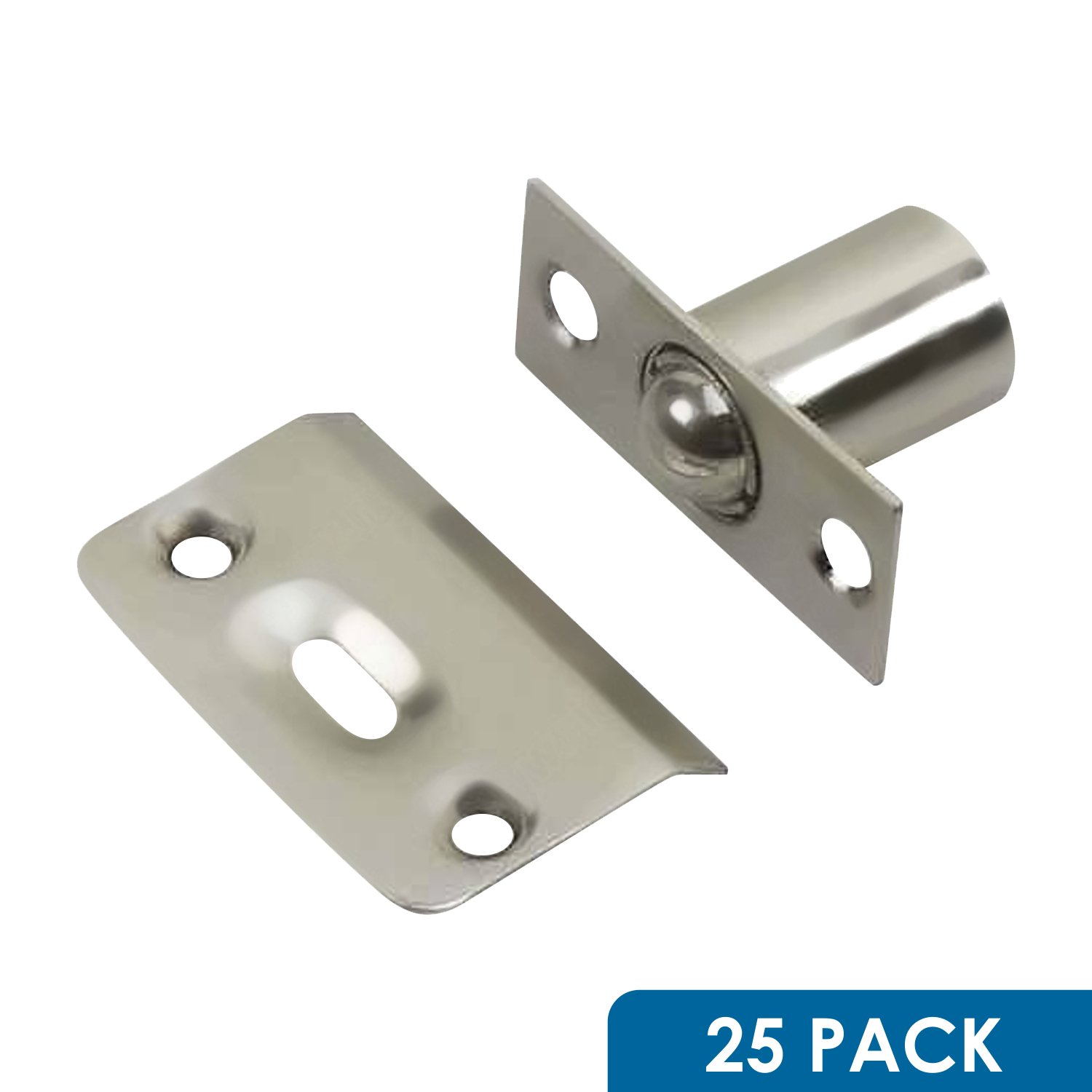 25 Pack Rok Hardware Brushed Nickel Adjustable Large Closet Cabinet Ball Catch Latch with Radius Corners and Strike