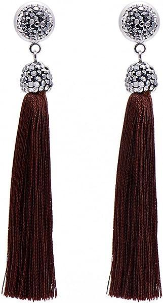 27e53b61efe5df Bohemia Long Tassel Earrings Women Black Rhinestone Drop Dangle Earrings