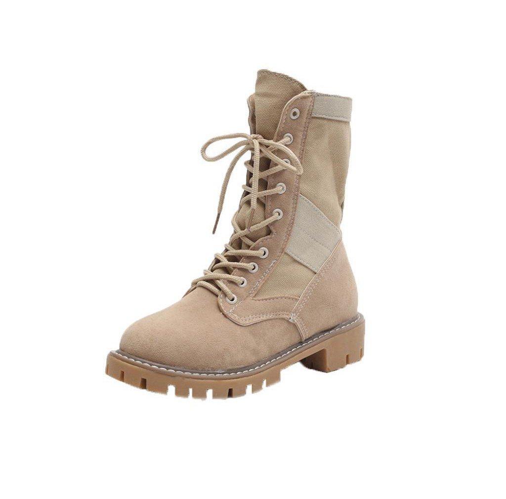 Morecome Women Autumn Winter Flat Heel Boots Platform Thick Boots Shoes (5, Beige)
