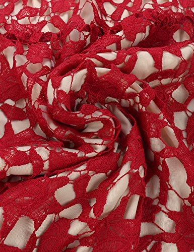 t Soire Robe Rouge Elegant Fleur de Sans Cocktail Longue ISASSY Femme Manche nSIWZUxqq