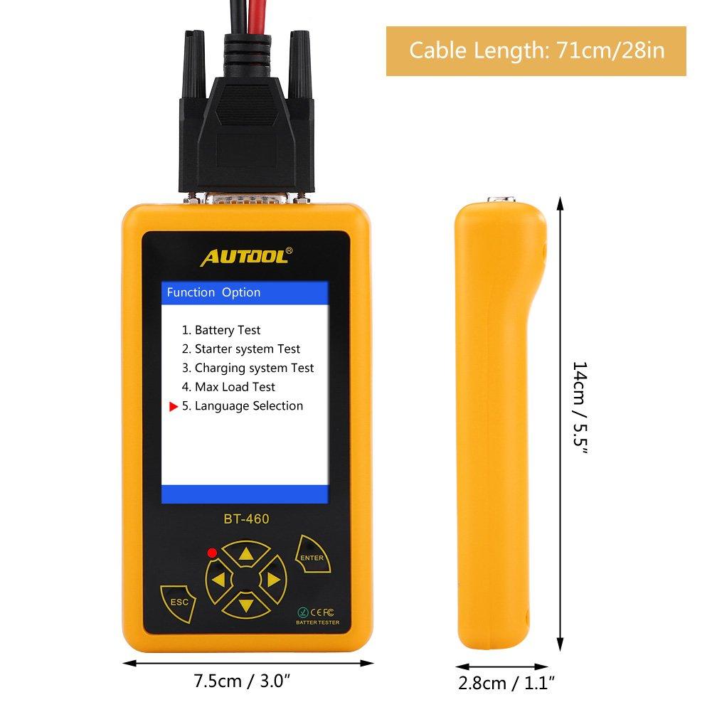 Testeur de Batterie Keenso Analyseur de Diagnostic Analyseur de Batteries Testeur de Charge de Batterie de Voiture de 4 Pouces Multi-fonction Testeur dAffichage TFT Multi-langue