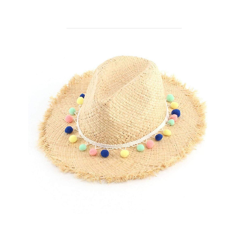 Handmade Straw Panama Sun Visor Hats Women Gilrs Wide Brim Caps